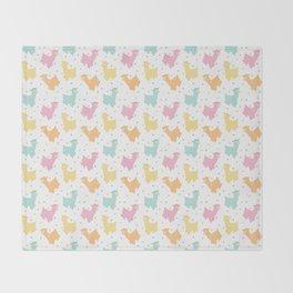 Pastel Kawaii Llamas Throw Blanket