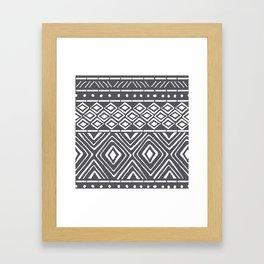 African Mud Cloth // Charcoal Framed Art Print