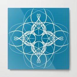 Blue White Swirl Metal Print