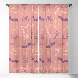 Happy halloween cats, lollipops, hats, brooms and candies pattern Sheer Curtain
