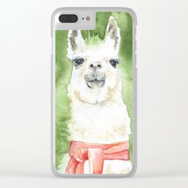 Llama with Red Scarf Watercolor Clear iPhone Case