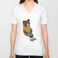 nike V-neck T-shirts featuring Bear in Nike by Diana Hope