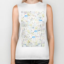 watercolor Santoroni pattern Biker Tank