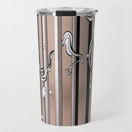 "Typography x illustration ""FLIP"" incorporate with abstract lines and flowers' movement Beige Pink Travel Mug"