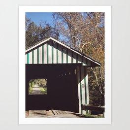 Seeing through a covered bridge Art Print