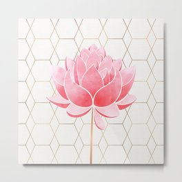 Lotus Blossom - Blush Pink and Metallic Gold Metal Print