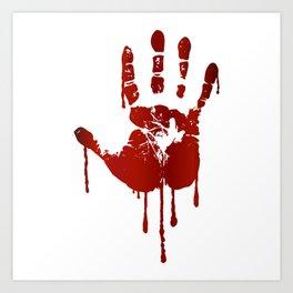 Bloody halloween hand Art Print