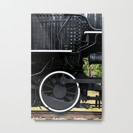 Black and White Train Parts Metal Print