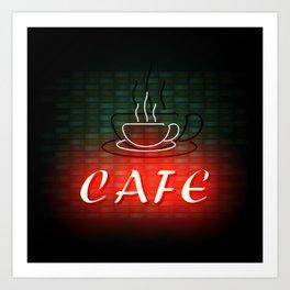 Neon Cafe Art Print