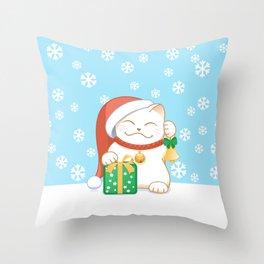 White Christmas Cat Throw Pillow
