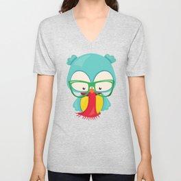 Hipster Owl, Owl With Glasses, Scarf, Blue Owl Unisex V-Neck