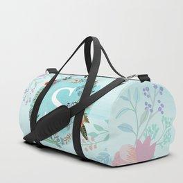 Personalized Monogram Initial Letter S Blue Watercolor Flower Wreath Artwork Duffle Bag