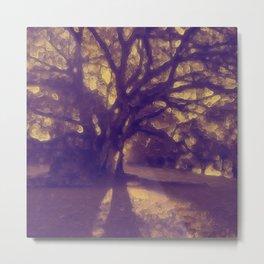 Golden Glow Tree Silhouette at Sunset Metal Print