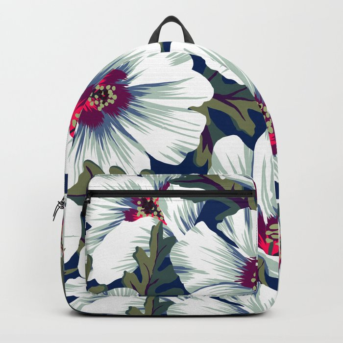 New Zealand Hibiscus Floral Print (Night) Backpack