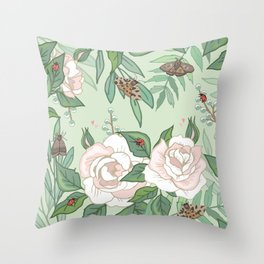 Roses, Moths and Ladybirds Throw Pillow