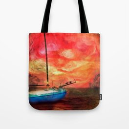 Blue Boat with Cormorants Tote Bag
