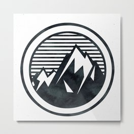 THE MOUNTAIN Black and White Metal Print