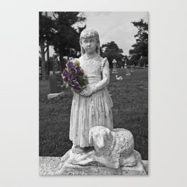 Girl Statue With Purple Roses Canvas Print