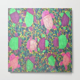 Turtles on Rainbow Rocks Metal Print