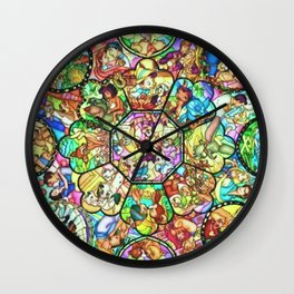 Mickey Mouse and Friends - Stained Glass Window Collage Wall Clock
