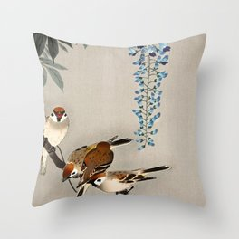 Sparrows and wisteria flower - Vintage Japanese Woodblock Print Art Throw Pillow