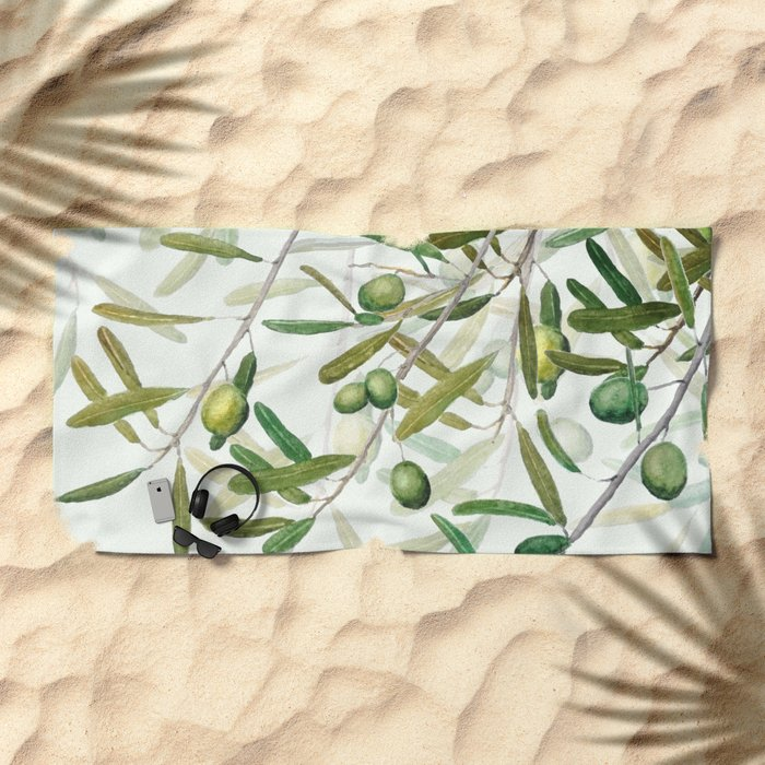 Green Olive watercolor painting Beach Towel