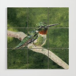 Romeo the Hummingbird by Teresa Thompson Wood Wall Art