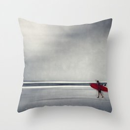 red surf board Throw Pillow