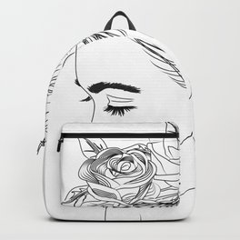 Simple Black and White Ink Drawing of Woman with Flowers in Hair Backpack