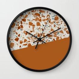 Terrazzo Texture Antique Mustard #3 Wall Clock