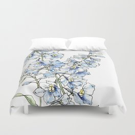 Blue Delphinium Flowers Duvet Cover