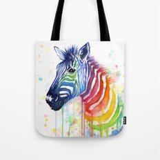 Zebra Watercolor Rainbow Animal Painting Ode to Fruit Stripes Tote Bag