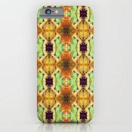 Orange and green pattern / dark purple iPhone Case