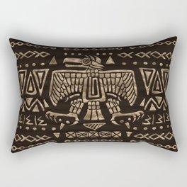 Aztec Eagle and Ornaments - Gold Rectangular Pillow