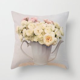 Pastel wedding roses in the pot - the day of Venus - flowers photography Throw Pillow