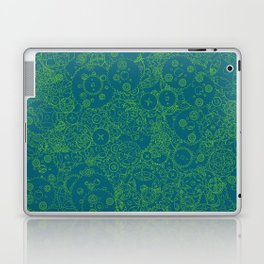 Clockwork Turquoise & Lime / Cogs and clockwork parts lineart pattern Laptop & iPad Skin