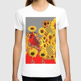 MODERN ABSTRACT RED CARDINAL YELLOW SUNFLOWERS GREY ART T-shirt
