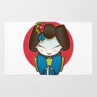 geisha Area & Throw Rugs featuring Geisha by Sara Penco