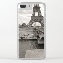 Eiffel Tower Black and white Clear iPhone Case