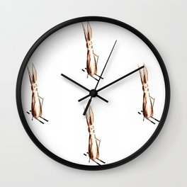 Funny Rabbit on skis Wall Clock