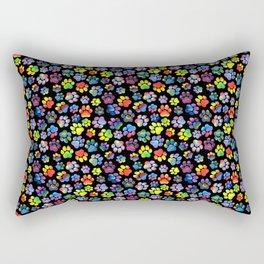 Rainbow Paw Print Watercolor Pattern Rectangular Pillow