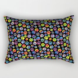 Rainbow Paw Print Watercolor Pattern Rectangular Pillow