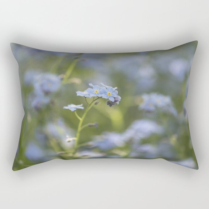 Forget me not in LOVE - Blue Flower Floral Spring Flowers on #Society6 Rectangular Pillow