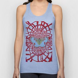 ARTISTIC RED-WHITE BUTTERFLY DREAM CATCHER WEB Unisex Tank Top