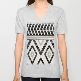 Rustic Geometric Bohemian Batik Tribal Pattern in Earth Tones Black Taupe Gray Unisex V-Neck
