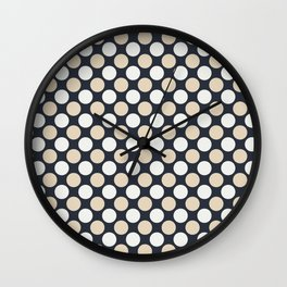 Beige and Off White Uniform Large Polka Dots on Dark Blue Matches Jolie Classic Navy Blue 2020 color Wall Clock