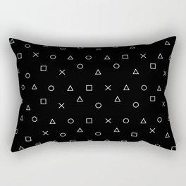 black gaming pattern - gamer design - playstation controller symbols Rectangular Pillow