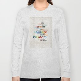 Colorful Serenity Prayer by Sharon Cummings Long Sleeve T-shirt