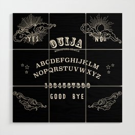 Ouija Board White on Black Wood Wall Art