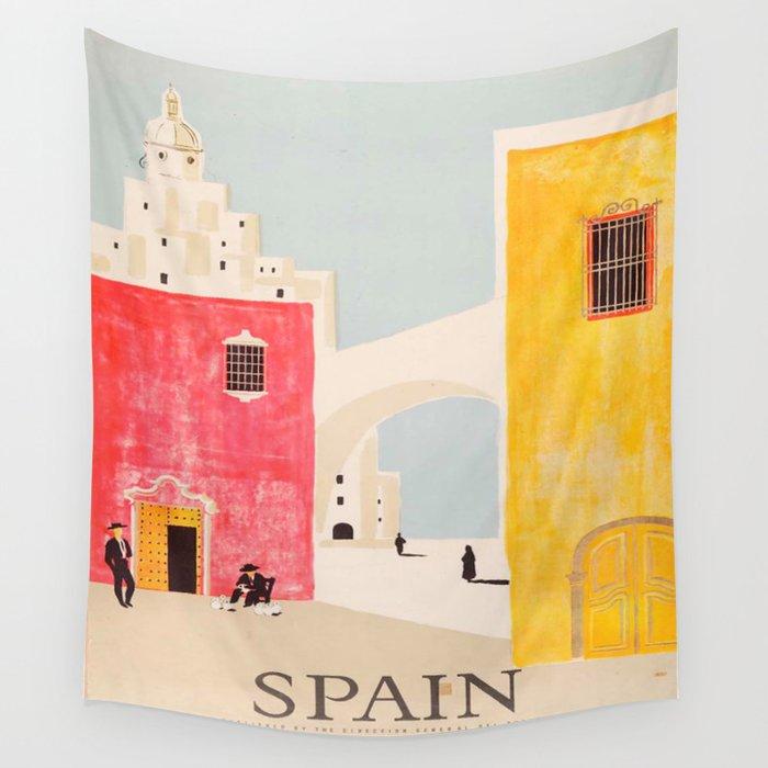 Spain Vintage Travel Poster Mid Century Minimalist Art Wall Tapestry